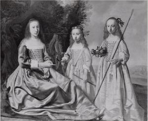 Familieportret van Bouwina Coenders van Helpen (..-1667) en haar twee dochters Gratia Susanna Clant (1630-1690) en Amelia Clant (1633-1695)