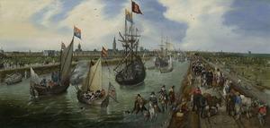 Haven van Middelburg; mogelijk met het vertrek van Elisabeth Stuart, koningin van Bohemen, de 'Winterkoningin', op 12 mei 1613