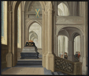 Interieur van een gotische kerk met een praalgraf