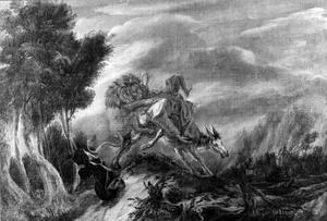 De ongehoorzame profeet wordt door de leeuw gedood (I Koningen 13:24)