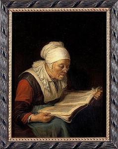 Lezende oude vrouw