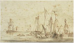 Schepen voor de haven van Vlaardingen