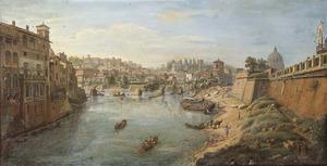 Rome, gezicht op de Tiber met links Palazzo Altoviti en rechts de bastions van Castel Sant'Angelo ofwel de Engelenburcht