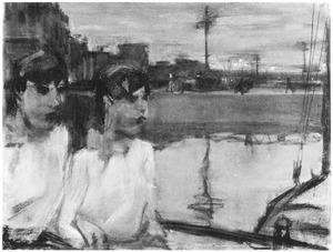 Amsterdams stadsgezicht met twee vrouwen op een brug bij Centraal Station