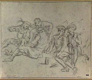 Vijf zittende figuren, converserend en drinkend