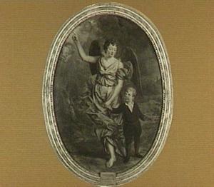Portret van een kleine jongen met zijn engelbewaarder
