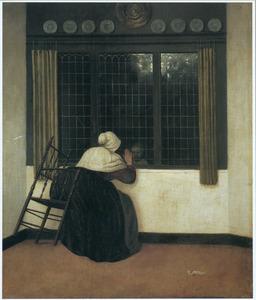 Vrouw die voor een venster een kind toezwaait