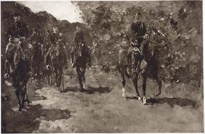 In 't laantje, wandelrit van Huzaren (in het midden Majoor Lucas begeleid door zijn adjudant en voorrijders)