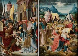 De ontmoeting van Abraham en Melchisedek (binnenzijde links); De inzameling van het manna (binnenzijde rechts); De Synagoge (buitenzijde links, in grisaille); De Ecclesia (buitenzijde rechts, in grisaille)