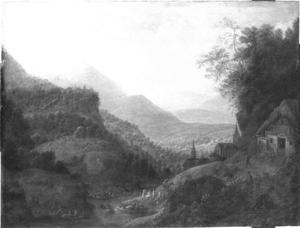 Rijnlandschap met bedrijvigheid aan de oever en rechts een boerderij