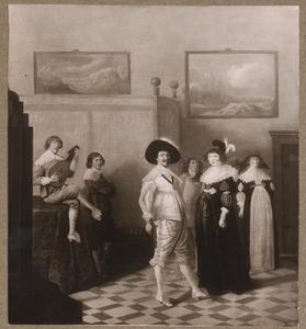 Elegant dansend en musicerend gezelschap in een interieur