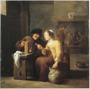 Een rokend en drinkend boerenpaar in een herberg