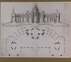 Ontwerp voor het vuurwerkpaviljoen voor de Vrede van Aken in de Hofvijver te Den Haag, 1749