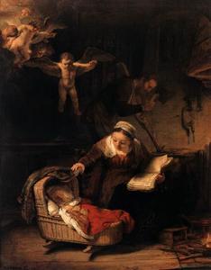 De Heilige Familie met engelen
