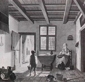 Zonnig interieur met doorkijkje op de binnenplaats