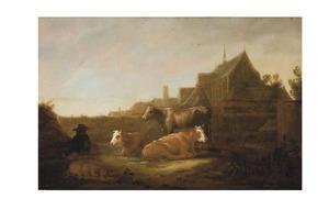 Landschap met herder en vee; op de achtergrond de kerk van het Duitse Huis en de zuidwestelijke toren van de Mariakerk te Utrecht