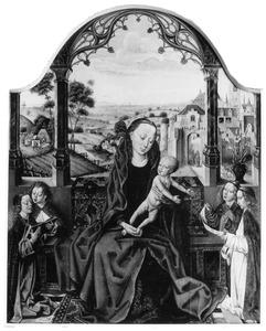 Maria met kind en vier engelen onder een arcade in een loggia