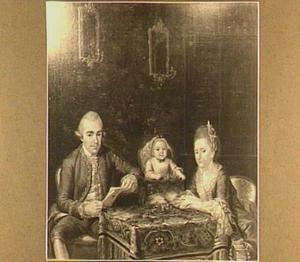 Portret van een familie in een goudleerkamer