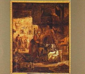 Boerin met geiten en schapen in een schuur met op de achtergrond een gelagkamer