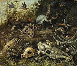 Landschap met vogels en dierskeletten (Memento Mori)
