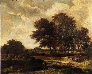 Boslandschap met schaapherder, links een korenveld