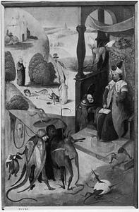 De tovenaar Hermogenes en de duivels; in de achtergrond de H. Jacobus de Meerdere (op de achterzijde: de H. Antonius, lezend voor een kapel)