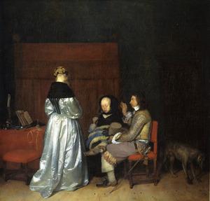 Interieur met een man en twee vrouwen