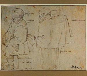 Zittende man met bontmuts en staande boerin met mand onder haar jas
