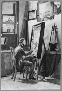 Jan Weissenbruch in zijn atelier aan de Raamstraat te Den Haag