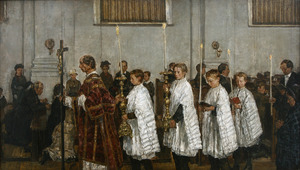 Processie in de Oud-Katholieke kerk te Den Haag