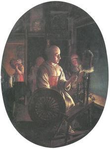 Vrouw aan het spinnewiel