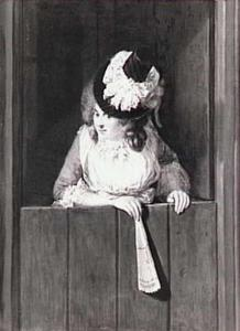 Portret van een vrouw, leunend over een halve deur