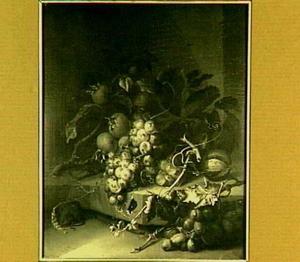 Stilleven met druiven, mispels en een muis