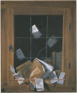 Trompe l'oeil van een kastdeur met gebroken glas-in-lood venster waarop documenten zijn bevestigd