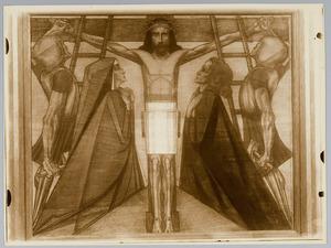 Elfde Kruiswegstatie. Jezus wordt aan het kruis genageld