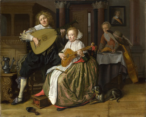 Elegant musicerend paar in een interieur met een dienstmeid