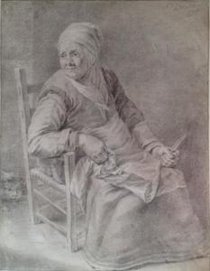 Zittende oude vrouw met mes