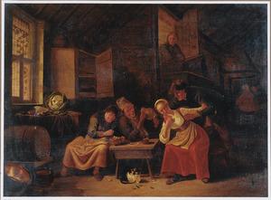 Boerengezelschap in een herberg met een man die een jonge vrouw lastig valt