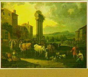 Zuidelijk landschap met veemarkt bij ruïnes