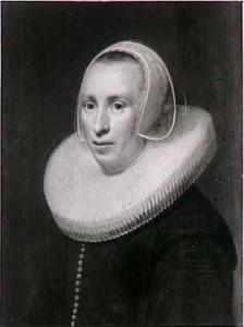 Portret van een vrouw met een molensteenkraag