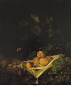 Stilleven met perziken en druiven