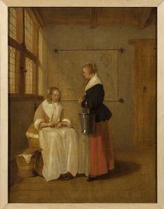 Interieur met zittende vrouw die haar dienstbode geld geeft