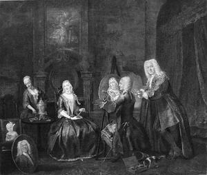 Portret van een familie met mogelijk zelfportret van de schilder