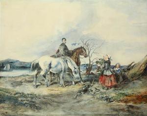 Landelijk tafereel met ruiter op een bruin paard en een schimmel bij een rivier
