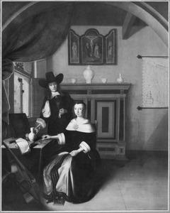 Portret van een man en een vrouw in een interieur