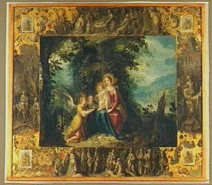 De madonna met het kind aanbeden door engelen in een boslandschap. In de marges geflankeerd door de vier evangelisten  en episodes rond de geboorte van Christus