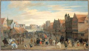 Het afdanken der waardgelders door prins Maurits op de Neude te Utrecht, 31 juli 1618; op de voorgrond in het zwart prins Maurits