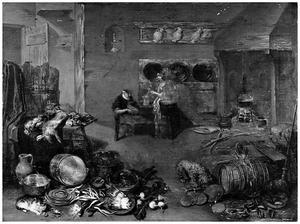 Keukeninterieur met twee vrouwen