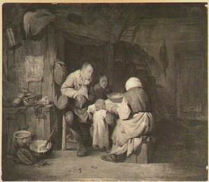 Boerengezin bij het gebed voor de maaltijd