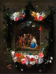 Het dagelijks leven van de Heilige Familie, omkranst door een bloemguirlande